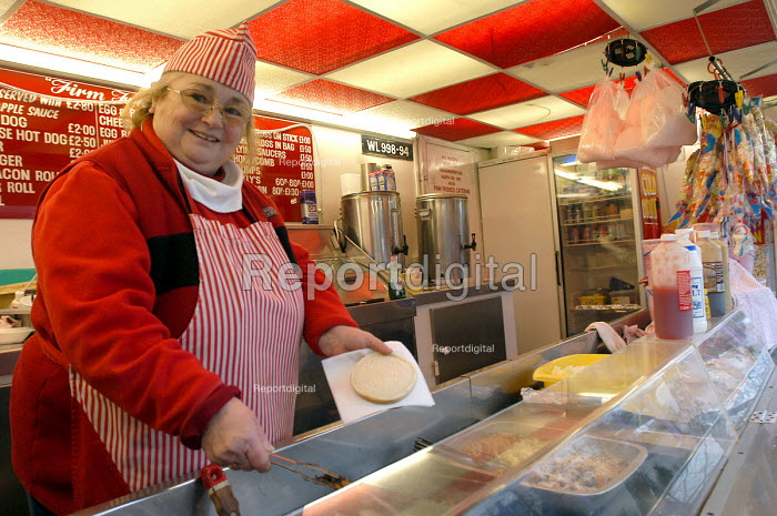A woman serving fried food from a mobile burger van, Yate - Paul Box - 2004-03-02