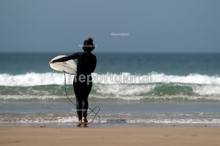 Girls learning to surf , Freshwater west, Pembrokeshire. - Paul Box, PB405158.jpg