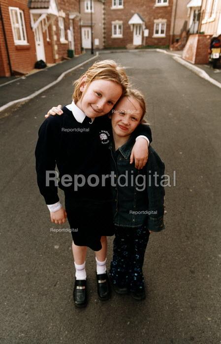 Social housing project near taunton. School children in the street on their housing estate - Paul Box - 2003-08-01