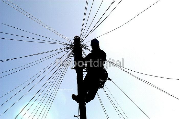 A British Telecom engineer works up telegraph pole - Paul Box - 2003-03-20