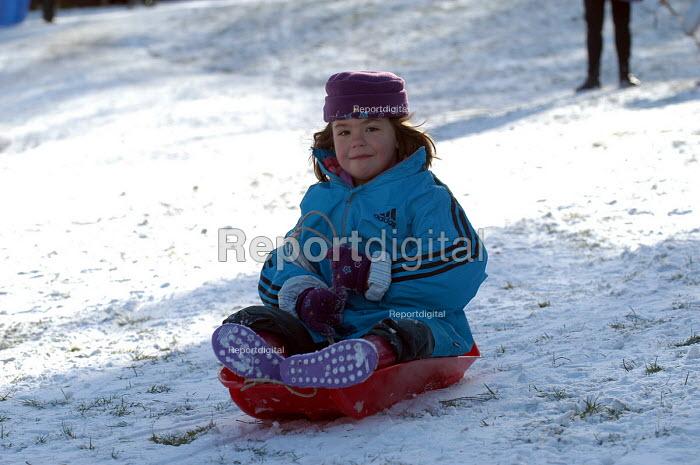 A Child sledging, St Andrews park , Bristol - Paul Box - 2004-02-10