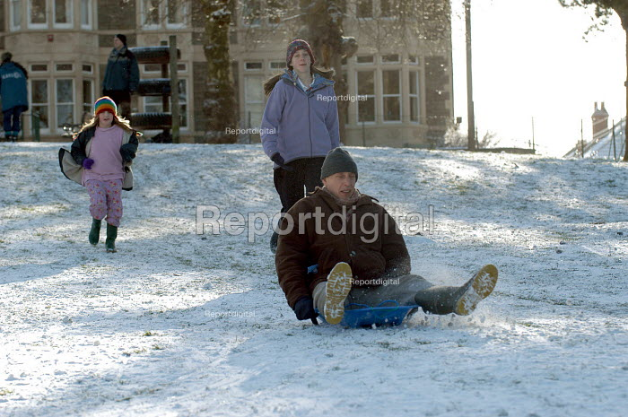 A Child sledging, St Andrews park , Bristol - Paul Box - 2004-02-10