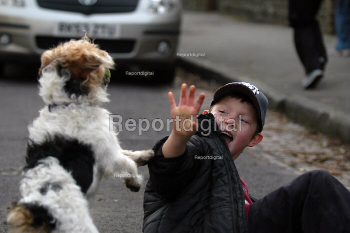 A terrier dog plays with a young boy - Paul Box - 2003-11-28