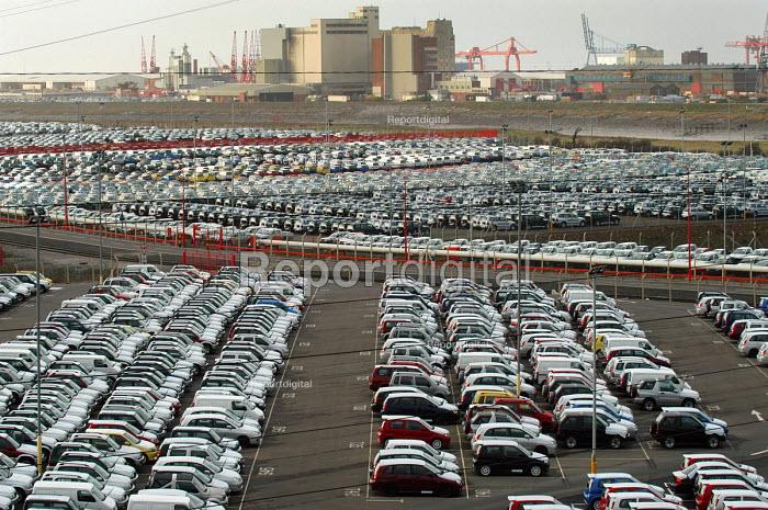 Rows of new cars imported to Portbury docks, Avonmouth Bristol - Paul Box - 2004-03-20