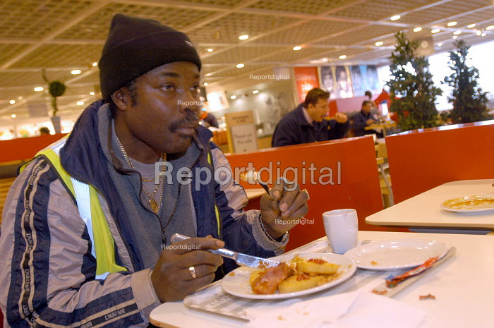 Ikea home furnishing store, breakfast for �1, a builder tucks into a cheap breakfast - Paul Box - 2004-05-05