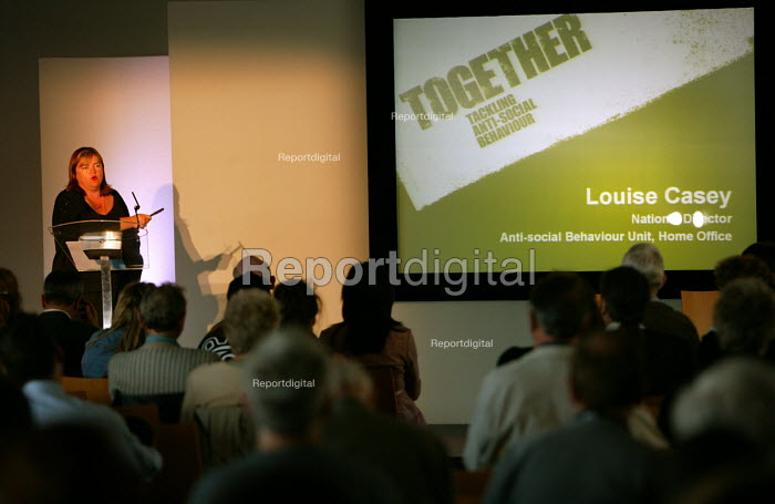 Louise Casey Director of the anti social behaviour unit speaks at the launch of the ASBO scheme, Bristol - Paul Box - 2004-07-05
