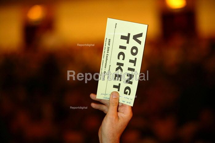 Voting ticket UKIP conference. The Colston Hall, Bristol. - Paul Box - 2004-10-02