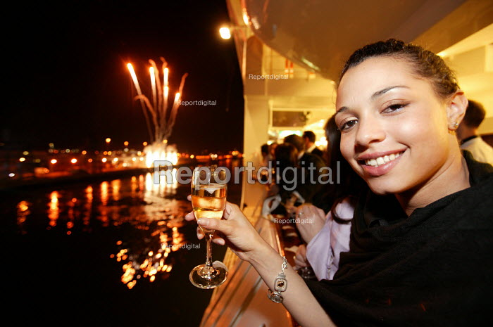 The Aurora cruise ship, a P&O cruise ship. Guests enjoy the fireworks as the ship leave docks. - Paul Box - 2004-06-02