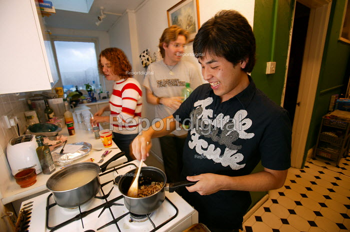 Student pictured at home with his student friends. - Paul Box - 2004-06-02