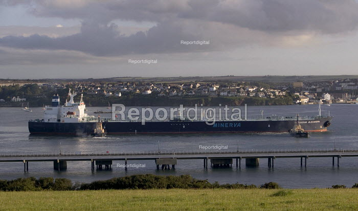 An oil tanker in Milford Haven carrying crude oil to the Texaco oil refinery, Rhoscrowther, Pembroke Dock. Pembrokeshire. - Paul Box - 2004-08-02