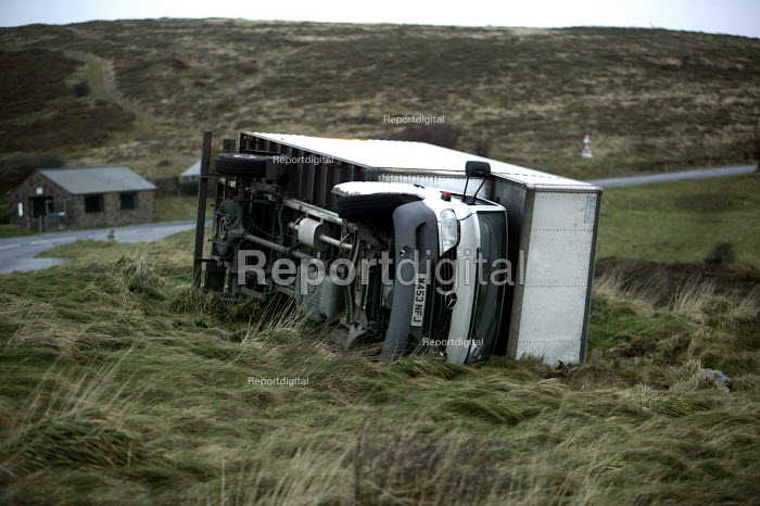 A lorry blown over on the A39 near Porlock after gales sweep the south West. - Paul Box - 2005-12-15