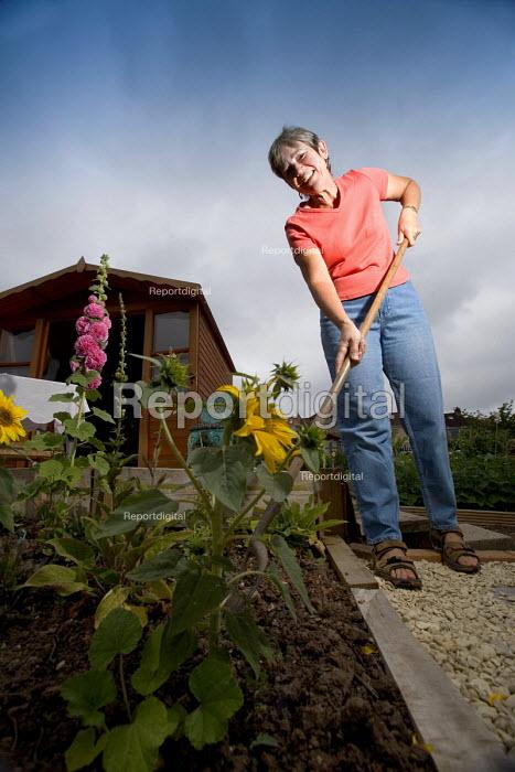 A woman gardening at her allotment. Bristol - Paul Box - 2005-12-15