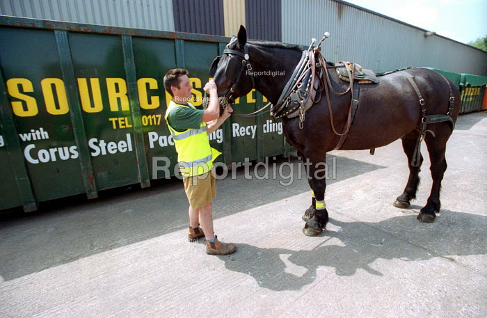 Curbside recycling carried out by Resource Saver with horse and cart, Keynsham, Bristol. - Paul Box - 2003-07-30
