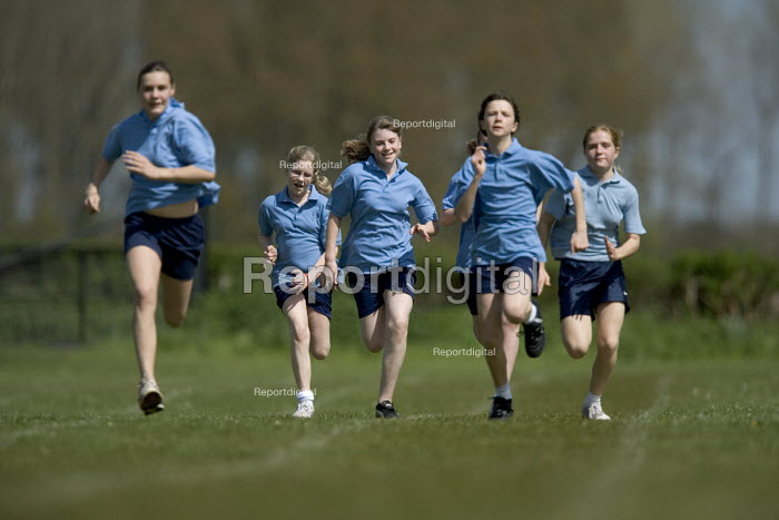 Girls running a race, Clevedon community school, Clevedon - Paul Box, PB608104.jpg