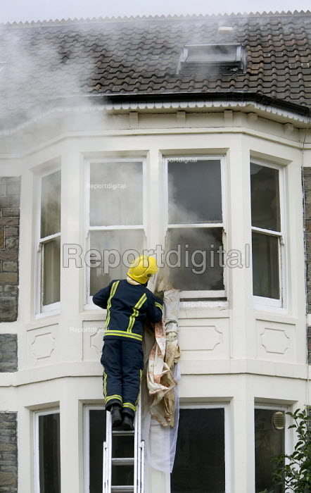A house fire in Bristol. The fire was started by lights... - Paul Box, PB708073.jpg
