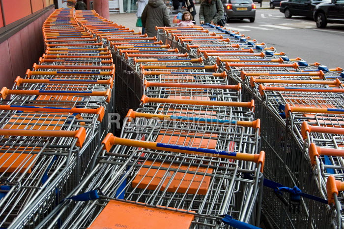 Shopping trolleys outside a Sainsbury's store at the O2... - Philip Wolmuth, pw070135.jpg