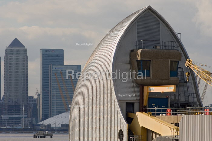 Part of the Thames Barrier, in Greenwich, and the Canary... - Philip Wolmuth, pw070317.jpg