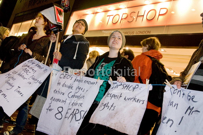 Campaigners from Let's Clean Up Fashion outside Topshop... - Philip Wolmuth, pw071203.jpg