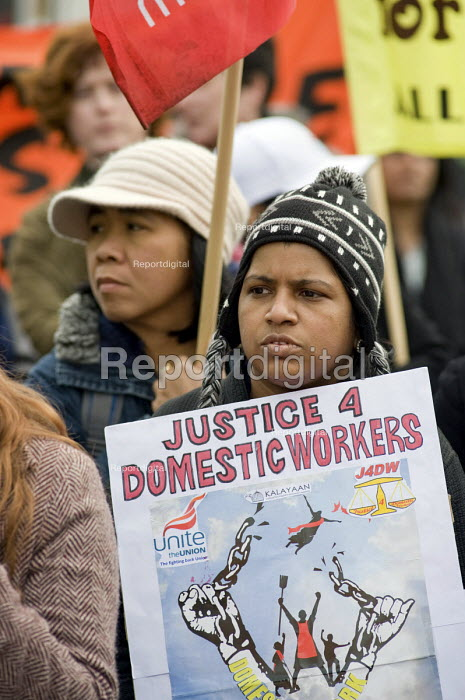 Justice for Domestic workers Not Slavery, Mothers March to mark International Womens Day and Mothers Day, London, organised by the All African Womens Group Mothers Campaign, Global Womens Strike. - Philip Wolmuth - 2010-03-13