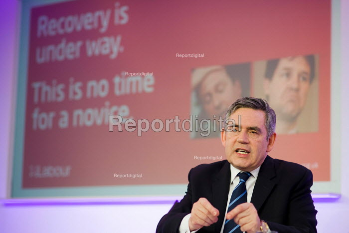 Prime Minister Gordon Brown, Labour Party election campaign press conference, London. - Philip Wolmuth - 2010-04-23