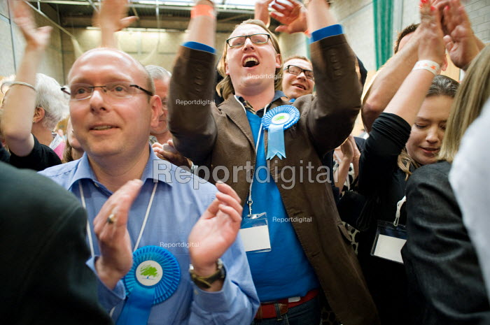 Supporters of defeated Conservative candidate Chris Philp after Labour MP Glenda Jackson holds the marginal seat of Hampstead and Kilburn by 42 votes in the 2010 General Election. - Philip Wolmuth - 2010-05-07