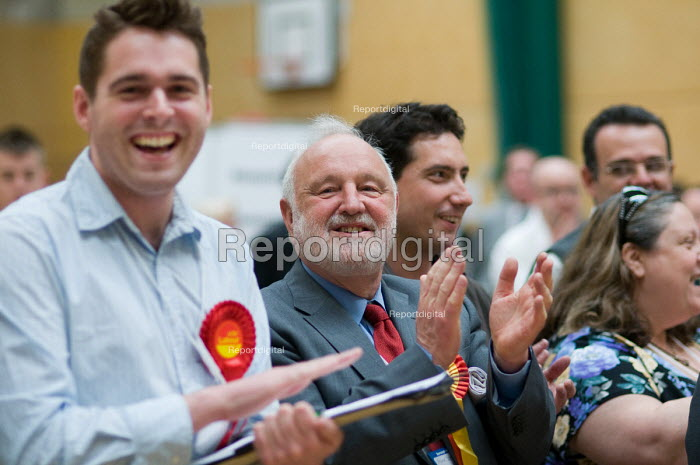 Frank Dobson MP and party supporters cheering as Labour Party win a ward from the Liberal Democrats in the Camden Council local elections 2010, in which Labour defeated the ruling Liberal Democrats Conservative coalition - Philip Wolmuth - 2010-05-07