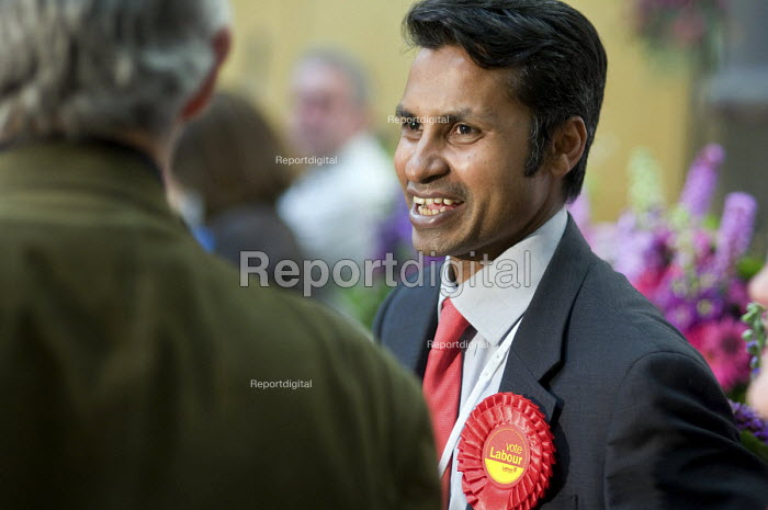 Nasim Ali, leader of the Labour Group, talks with supporters as Labour defeats the ruling Liberal Democrats Conservative coalition in the Camden Council local elections 2010. - Philip Wolmuth - 2010-05-07
