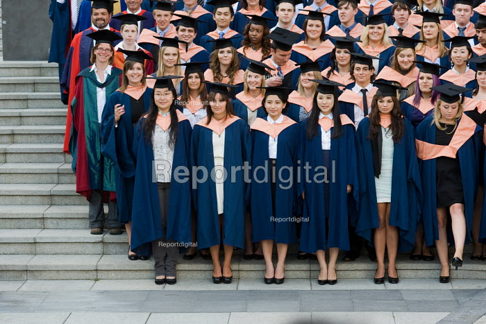 University of East Anglia (UEA) students pose for their graduation photograph. - Philip Wolmuth - 2010-07-15