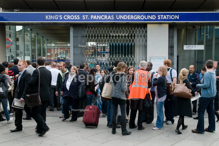 Rush hour commuters queue outside Kings Cross underground station during a one day strike by RMT union members over proposed job cuts. - Philip Wolmuth - 2010-09-07