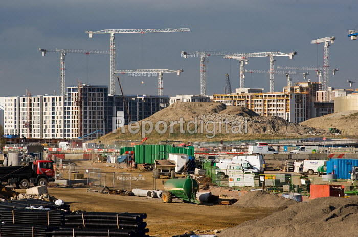 Construction work on the London 2012 Athletes Village in Stratford. The publicly owned development is being built by the Olympic Delivery Authority (ODA) and private construction company Bovis Lend Lease. It will house 17,000 athletes and officials and leave a legacy of up to 2818 homes (with 1379 of these �affordable �). - Philip Wolmuth - 2010-09-21