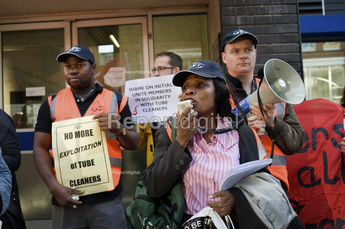 Clara Osagiede speaks at an RMT protest at London HQ of Initial Rentokil over exploitation of tube cleaners and misuse of immigration authorities to intimidate contract workers. - Philip Wolmuth - 2010-10-11