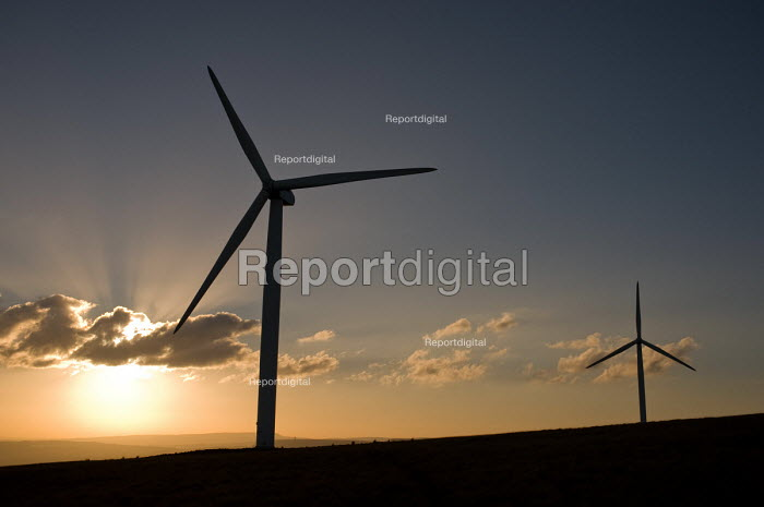 Some of the 26 turbines on Scout Moor outside Rochdale, Lancashire, the largest onshore wind farm in the UK. It is run by Peel Energy and provides energy for 40,000 homes. - Philip Wolmuth - 2010-10-07