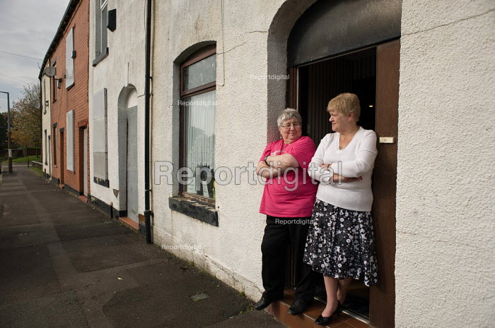 Lynn Ogden (left) is the last remaining resident in Ramsey Street in Derker, Oldham, where she has lived for 43 years. Her ex-neighbour Margaret Rowcroft (right) moved out 2 years ago. The street is scheduled for demolition as part of the Housing Market Renewal programme. - Philip Wolmuth - 2010-10-08