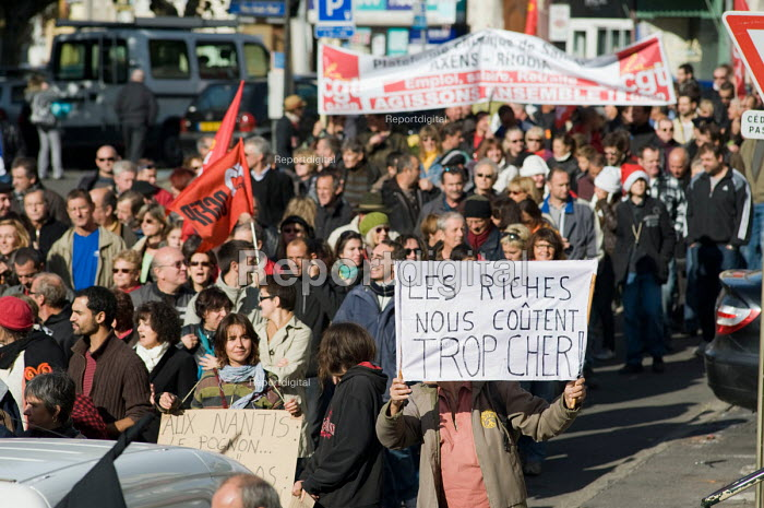 The Rich Cost Us Too Much. Protest in Als, in southern France against the governments proposed pension reforms. - Philip Wolmuth - 2010-10-19