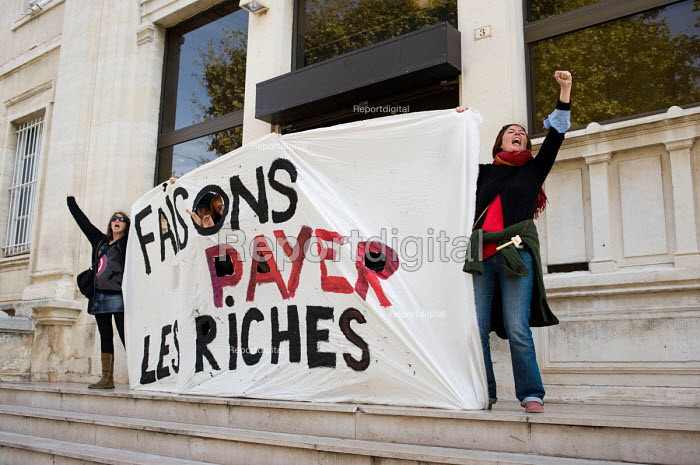 Make The Rich Pay. Protest in Als, in southern France against the governments proposed pension reforms. - Philip Wolmuth - 2010-10-19