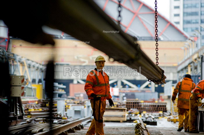 A worker in the Points and Crossings Shed of London Underground's Lillie Road Depot. The depot produces replacement track for the tube network and offers a same day service for 'urgencies and emergencies'. The depot is now run by London Underground following the collapse of PPP contractor Metronet in 2007. - Philip Wolmuth - 2010-02-16