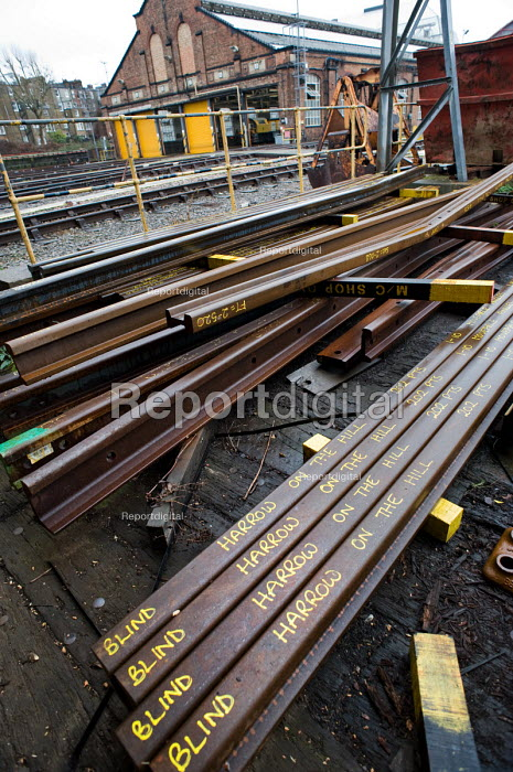 Replacement rails ready for dispatch in the Points and Crossings Shed of London Underground's Lillie Road Depot. The depot produces replacement track for the tube network and offers a same day service for urgent repairs and replacements. The depot is now run by London Underground after PPP contractor Metronet entered administration in 2007. - Philip Wolmuth - 2010-02-16