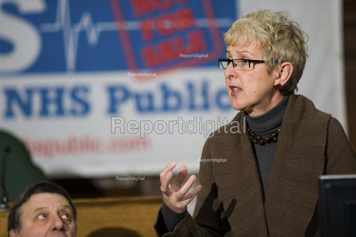 Gail Cartmail, Unite, Public meeting called by Keep Our NHS Public to discuss action against the coalition government's NHS White Paper, Camden Town Hall, London. - Philip Wolmuth - 2010-11-15