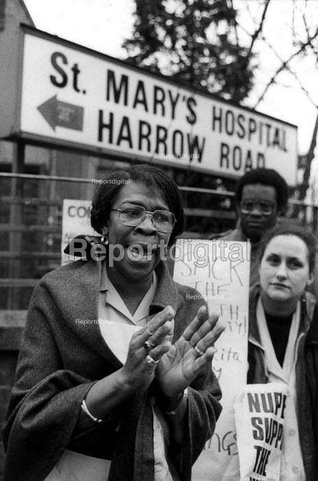 1984: Hospital domestic Rita Maxim speaks outside St Mary's Hospital, Harrow Road, West London, where she has worked for 22 years, after being sacked for refusing to sign a new short term contract. - Philip Wolmuth - 1984-02-01