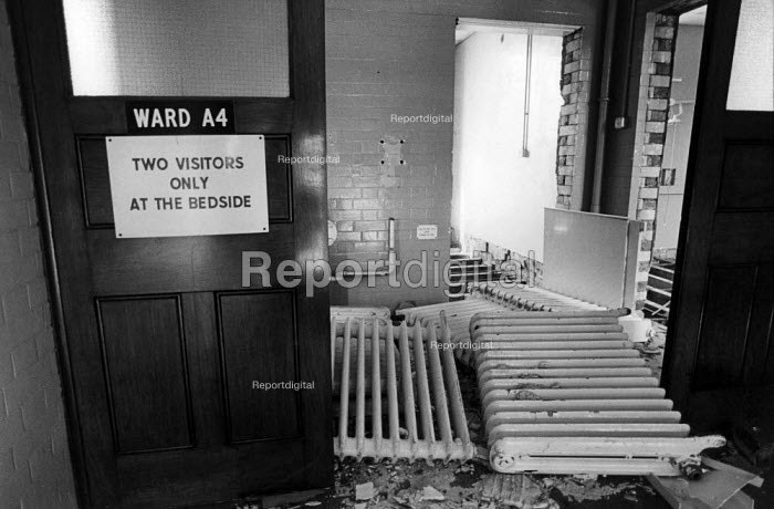 1985: A ward in the partially demolished St Mary's Hospital, Harrow Road, West London - Philip Wolmuth - 1985-09-28