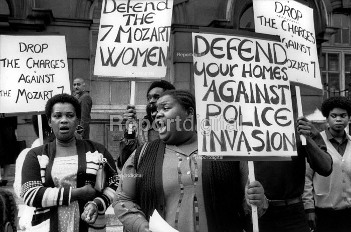 Residents of Mozart Estate, West London, protest at Marylebone Magistrates Court at the arrest of 7 black women during a raid involving 50 policemen with dogs. - Philip Wolmuth - 1983-08-06