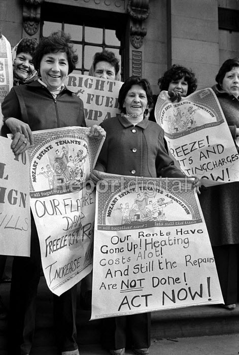 1981 Members of Mozart Estate Tenants Association join a Westminster Council Tenants Action Group at Westminster Council House to protest at increased rents, heating bills and poor repair services, London - Philip Wolmuth - 1981-04-27