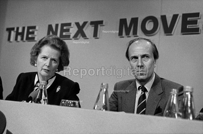 Margaret Thatcher and Norman Tebbit, Conservative Party pre-election press conference. - Philip Wolmuth - 1987-05-29
