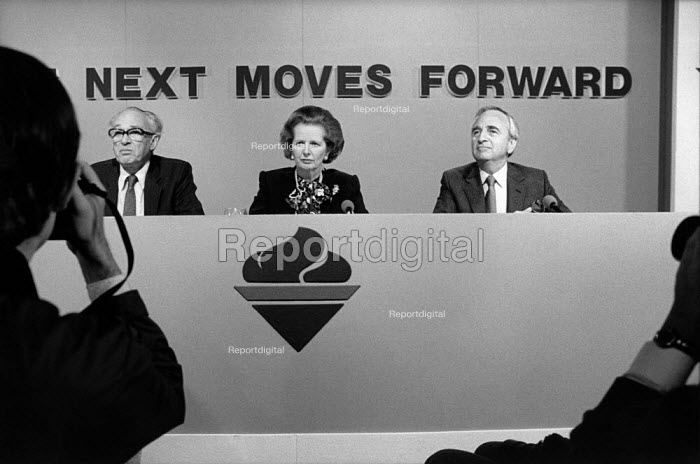 Nicholas Ridley, Margaret Thatcher and Lord Young, Conservative Party pre-election press conference. - Philip Wolmuth - 1987-05-29