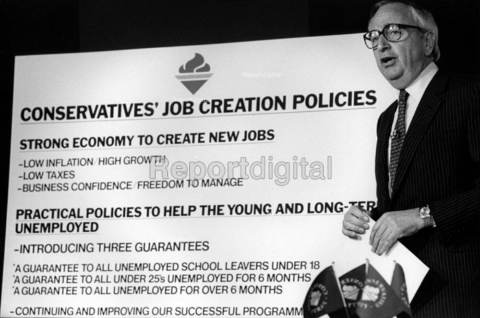 Lord David Young, Conservative Party pre election press conference policy statement. - Philip Wolmuth - 1987-06-01