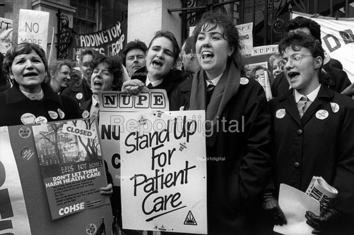 Nurses at St. Marys Hospital protest, London 1988. National Day of Action against NHS cuts - Philip Wolmuth - 1988-02-03