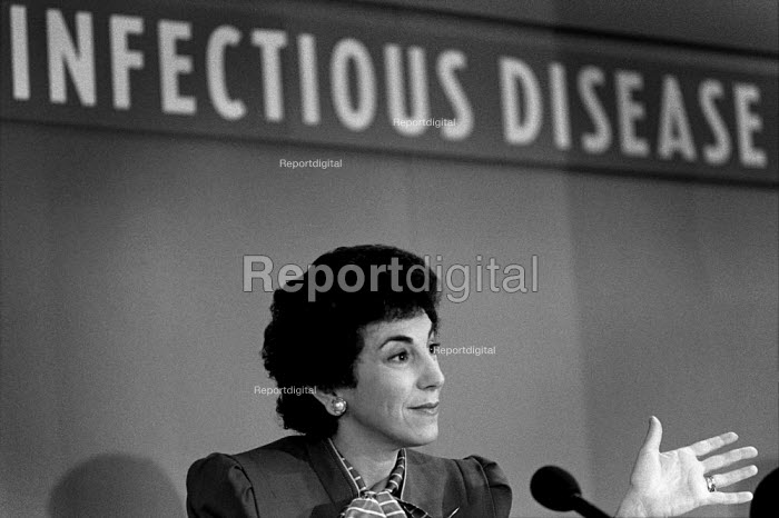 Junior Health Minister Edwina Currie speaks at the launch of a MMR vaccination campaign. - Philip Wolmuth - 1988-10-03