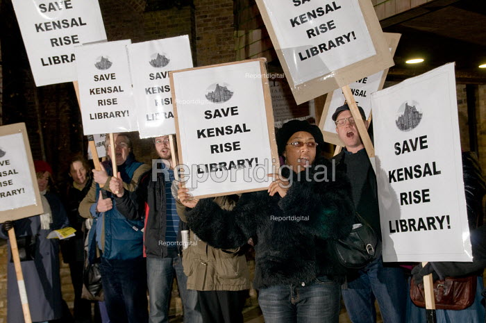 Protest outside a Brent Council consultation meeting in Harlesden, over the proposed closure of Kensal Rise library, one of six in the borough threatened with closure as a result of government spending cuts. - Philip Wolmuth - 2011-01-11