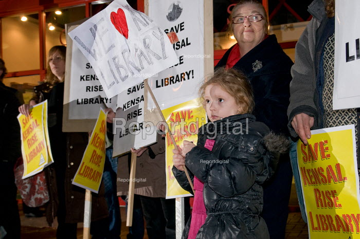 Protest against the proposed closure of Kensal Rise library, one of six libraries in the London Borough of Brent Brent under threat as a result of government spending cuts. - Philip Wolmuth - 2011-01-12