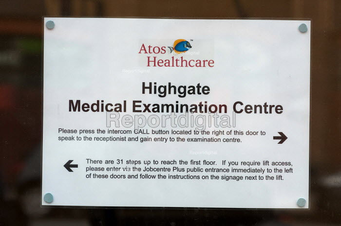Highgate Medical Assessment Centre, an examination centre run by Atos Healthcare, a private company which assesses claimants registered for Incapacity Benefit. The centre is in the same building as Archway Job Centre Plus. - Philip Wolmuth - 2011-01-24